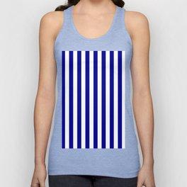 Narrow Vertical Stripes - White and Dark Blue Unisex Tank Top