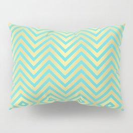 summer chevron: aqua + gold Pillow Sham