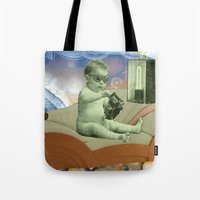 toddler Tote Bags featuring Toddler Time Machine by Ira Carter