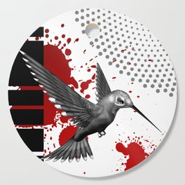 Trash Polka Flying Hummingbird Geometric Shapes Cutting Board