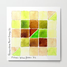 Color Chart - Quinacridone Burnt Orange DS and Phthalo Yellow Green DS Metal Print