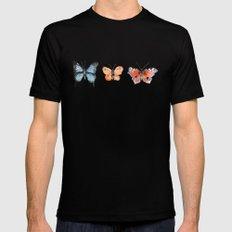 Watercolor Butterflies Black Mens Fitted Tee MEDIUM