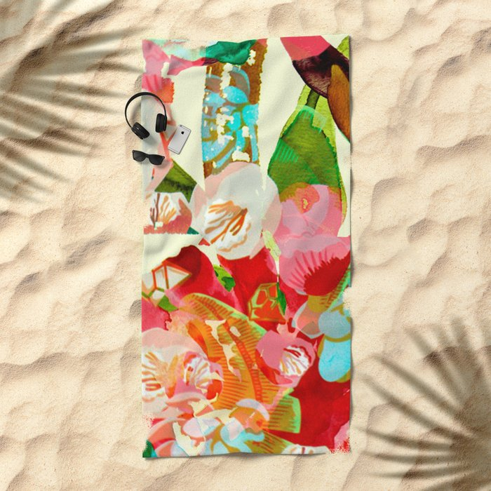 clown floral Beach Towel