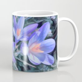 Early purple crocuses spring flowers abstract Coffee Mug