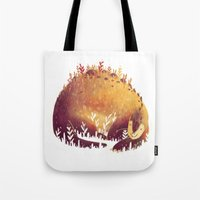 dinosaur Tote Bags featuring DINOSAUR by rafael mayani