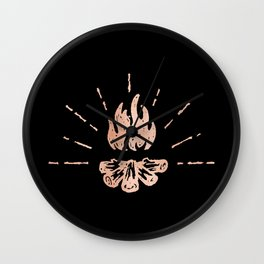 Campfire Rose Gold Flames Wall Clock