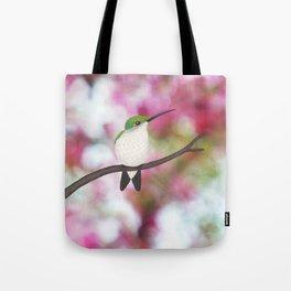 ruby throated hummingbird - female on pink bokeh Tote Bag