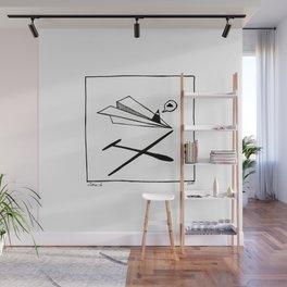Ninja flies a Paper Plane Wall Mural