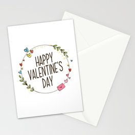 Simple Happy Valentine's Day with Floral Wreath Stationery Cards