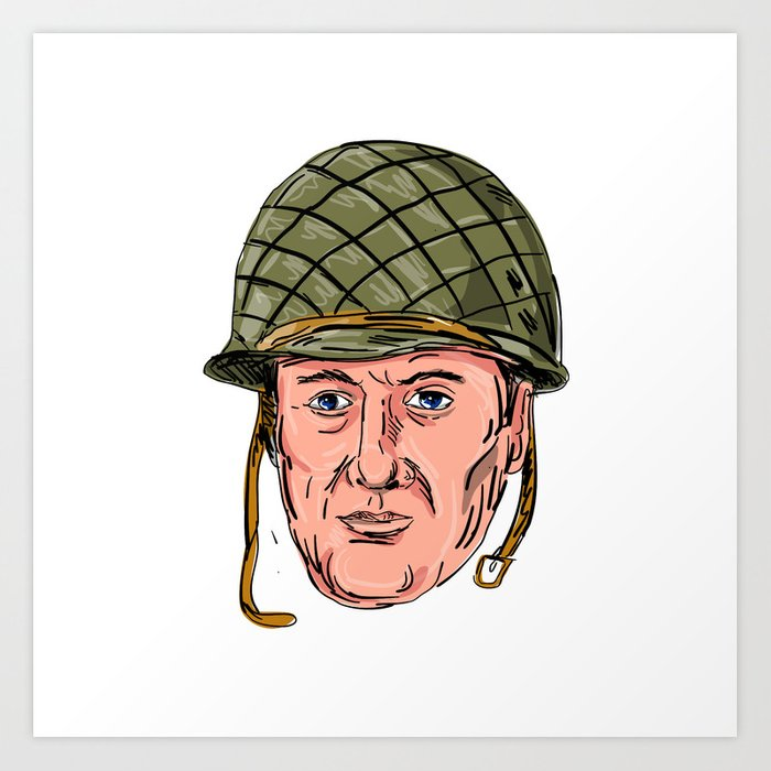 World War Two American Soldier Head Drawing Art Print By Patrimonio