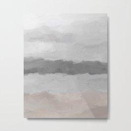 Cloudy Coastal Gray Stormy Beige Sandy Beach Ocean Abstract Nature Painting Art Print Wall Decor  Metal Print