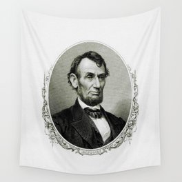 Engraving and anonymous portrait of Abraham Lincoln Wall Tapestry