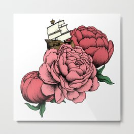 Sailing a Sea of Peonies - Pink Metal Print