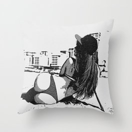 At the beach - sexy girl, black and white, hot rear, booty view, perfect fit and curvy body shapes, Throw Pillow