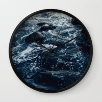 salt water Wall Clocks featuring Salt Water Study by Teal Thomsen Photography