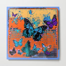 Artistic Orange-Blue Monarch Butterflies Design Pattern Metal Print
