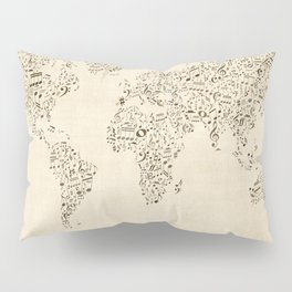 Music Notes Map of the World Pillow Sham