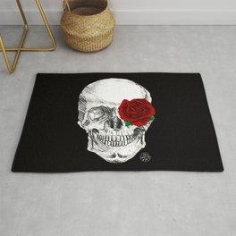Rose Skull Black Rug
