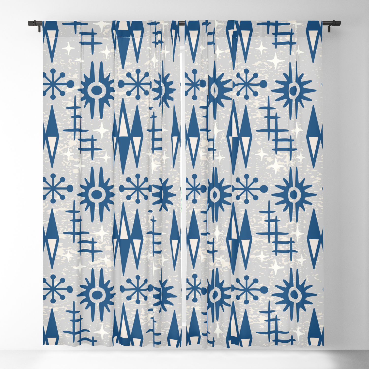 Picture of: Mid Century Modern Atomic Space Age Pattern Blue Grey Blackout Curtain By Tonymagner Society6