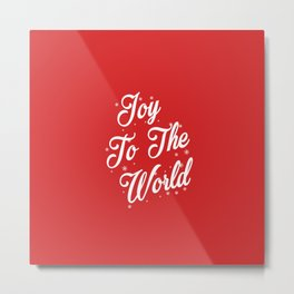 Joy To The World Christmas Red Background Metal Print