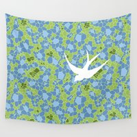 swallow Wall Tapestries featuring White Swallow by Laurie Spugnardi