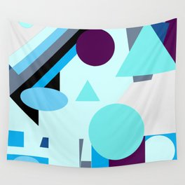 geometrical shapes in blue purple grey and black Wall Tapestry