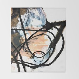 It comes and goes - a black and white abstract mixed media piece with pink details Throw Blanket