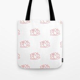 Pink Loto Flower Pattern Tote Bag