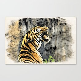 Tiger roar Woodblock Style Canvas Print