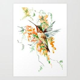 Hummingbird and orange flowers Art Print