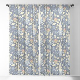 Herbal tea and lemons pattern on blue Sheer Curtain