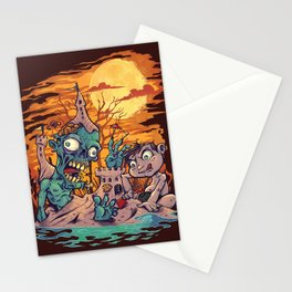 Zombie At The Beach  Stationery Cards