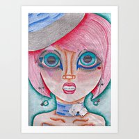 poker Art Prints featuring poker face by Scenccentric Creations