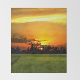 PADDY FIELDS AT SUNSET Throw Blanket