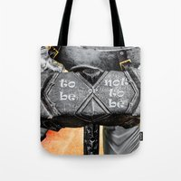 warhammer Tote Bags featuring Medieval knight with a warhammer by digital2real