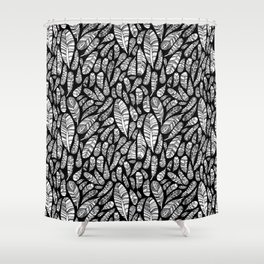 Tribal Feathers // Black Shower Curtain