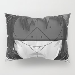 Beautiful Fractal Feathers for Major Motoko in Black and White Pillow Sham