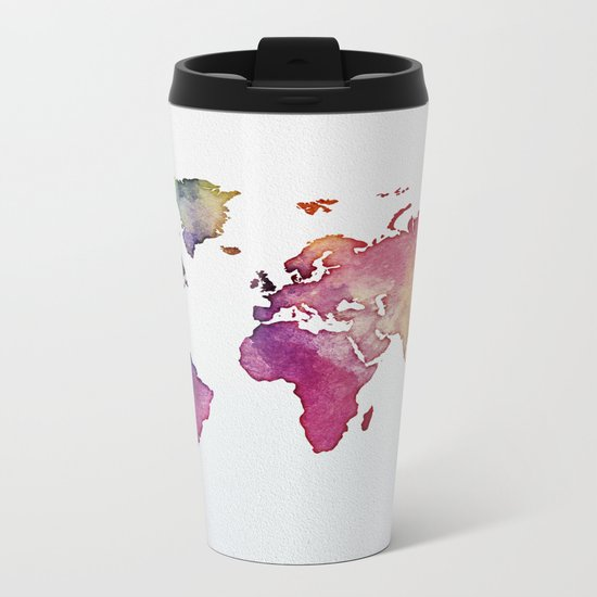 Multicolor World Map 01 Metal Travel Mug