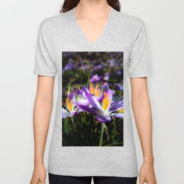 purple flowers, flower meadow, blossoms, floral, spring flower,  Unisex V-Neck
