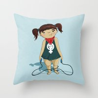 feminist Throw Pillows featuring Feminist girl by Jihane Mazid