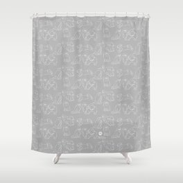 Nordic Chic White Tibbies on Light Grey Minimalist Outline Pattern Shower Curtain