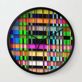 inclined coloured stripes with shadows Wall Clock