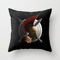 warrior Throw Pillows featuring Warrior by Det Tidkun