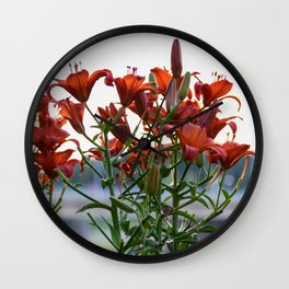 Red Lilies Wall Clock
