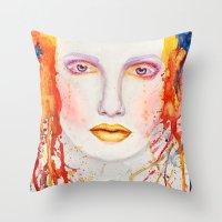 splatter Throw Pillows featuring Splatter by Funkygirl4ever95