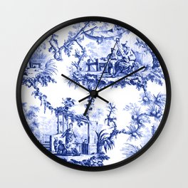 Blue Chinoiserie Toile Wall Clock
