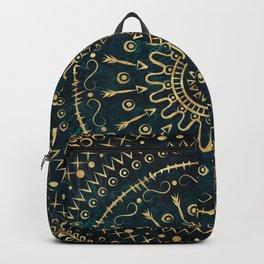 Geometric tribal gold mandala Backpack