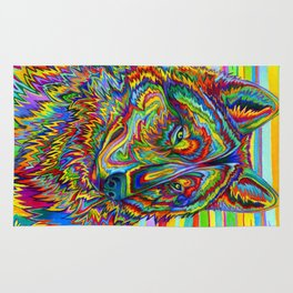 Colorful Psychedelic Rainbow Wolf Rug