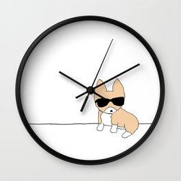 Corgi Dog in Sunglasses Wall Clock