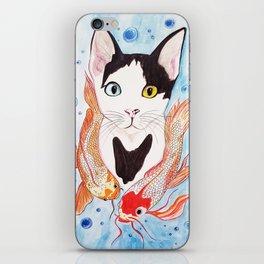 Cat and koi iPhone Skin